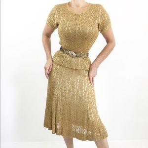 Golden Crochet Vintage Skirt Top Suit Feminine